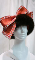 Red hat with rhinestones and dark brown dyed fox - Item # AC0059