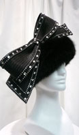 Black hat with rhinestones and black dyed fox - Item # AC0063