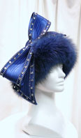 Royal blue dyed fox with rhinestones and bow - Item # AC0088
