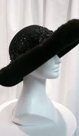 Ranch mink large brimmed hat with sequins and beads - Item # AC0089