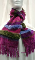 Handwoven chenille scarf with sheared beaver trim - Item # AC0118