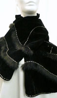 Black velvet scarf with fur and beads - Item # AC0128