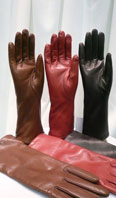 Lamb leather gloves in cork, red and black - Item # AC0139