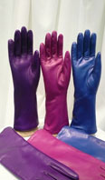 Lamb leather gloves in purple, pink and royal blue - Item # AC0140
