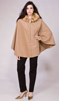 Camel cashmere zip front cape with golden sable hood - Item # CS0001