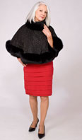 Black velvet cape with swavorski crystal net with black fox  - Item # CS0003