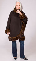 Brown 100% cashmere cape/stroller with cross-cut mahogany mink trim - Item # CS0004