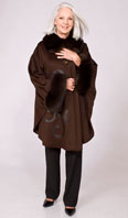 Brown Loro Piana cashmere cape with brown dyed fox  - Item # CS0005