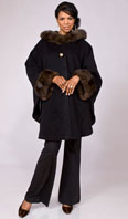 Black Lora Piana 100% cashmere hooded cape w/ sable trim - Item # CS0006