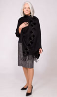 Black cashmere wrap with ranch mink trim and swavorski crystals - Item # CS0007