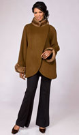 Camel cashmere jacket with pastel mink collar/cuffs - Item # FF0009