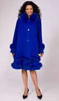 <p>Royal blue cashmere/wool/Angora coat with Dyed-To-Match fox collar/trim - Item # FF0010</p>