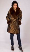 Copper taffeta stroller with dyed rex rabbit lining/cape collar/ turn back cuff - Item # FF0013
