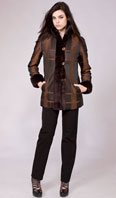 Brown plaid taffeta with dyed rex tux/cuff & detachable zip out rabbit liner - Item # FF0014