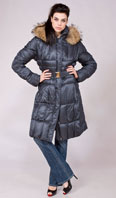 Blue down filled 7/8 coat with detachable Finn raccoon hood ruff - Item # FF0016