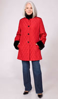 Red quilted jacket with black rex collar/cuff - Item # FF0019