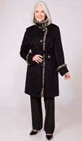 Black 100% cashmere city coat featuring blue iris mink trim - Item # FF0020
