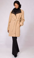 Camel hair belted stroller reversible to dark brown taffeta - Item # FF0023