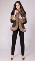 Santa Fe nappa lamb leather jacket with crystal dyed fox trim - Item # LE0026