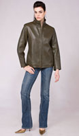 Olive dyed lamb leather jacket - Item # LE0027