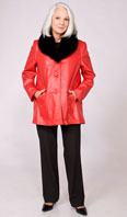 Red leather jacket with detachable black dyed fox shawl collar - Item # LE0028