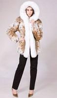 Natural lynx parka with white fox trim - Item # LU0035