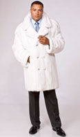 White mink double breasted car coat - Item # ME0041