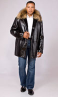 Black croc embossed shearling car coat with Finn raccoon collar - Item # ME0046