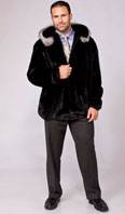 Ranch mink zip jacket with indigo fox on detachable hood - Item # ME0048