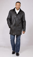 <p>Black shearling car coat - Item# ME0051</p>