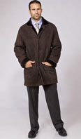 Brown suede shearling car coat - Item # ME0052
