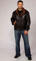Black/brown leather jacket  - Item # ME0054