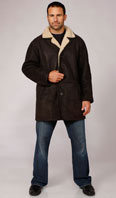 Lorda brown shearling car coat - Item # ME0056