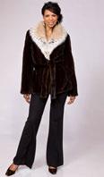 Natural mahogany female mink jacket with cat lynx collar - Item # MI0057