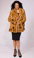 Whiskey dyed female mink jacket with hem/sleeve ruffle - Item # MI0059