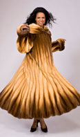 Whiskey degrede dyed mink coat with trumpet hem - Item # MI0060