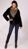 Ranch mink jacket with cross fox shawl collar - Item # MI0063