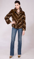 Stenciled diagonal mink jacket - Item # MI0068