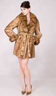 Sahara dyed female mink Skin-On-Skin stroller w/natural sable cross cut collar/turn back cuff - Item # MI0073