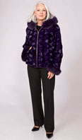 Purple dyed mink sections zip jacket with Dyed-To-Match fox trimmed hood - Item # MI0076