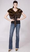 Natural mahogany female mink cape - Item # MI0100