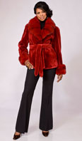 <p>Red dyed sheared beaver jacket with Dyed-To-Match sable collar/turn back cuff - Item # SB0077</p>