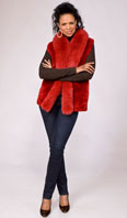 <p>Red lipstick sheared beaver vest with Dyed-To-Match Fox tux - Item # SB0079</p>