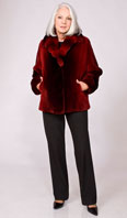 <p>Ombre scarlet sheared beaver jacket with Dyed-To-Match chinchilla collar - Item # SB0085</p>