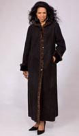 Black shearling coat with mahogany mink trim - Item # SH0118