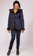 Navy suede shearling jacket with mahogany mink whipstitching - Item # SH0120