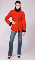 Zanzibar red suede shearling with mahogany mink collar - Item # SH0121