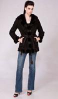 Black shearling with LH ranch mink trim/ hood - Item # SH0122