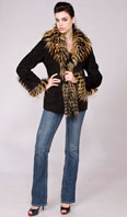 <p>Black shearling with multi color fox collar/tux/sleeve trim - Item # SH0123</p>