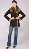 Brown suede toscana shearling with leopard stenciling - Item # SH0124